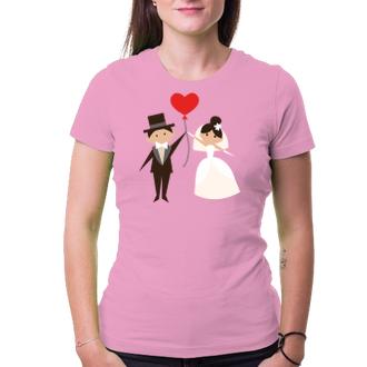 Svadobné Tričko Nevesta a ženích s balónikom