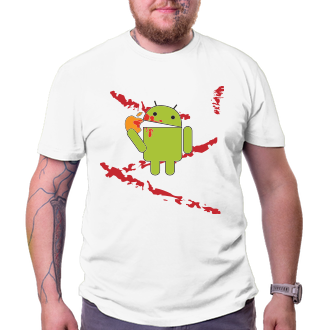Geek Tričko Android eats Apple - bloodbath