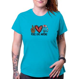 Lekári a záchranári Tričko Peace, love and nursing